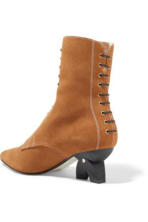 LOEWE Lace-up shearling-lined suede ankle boots