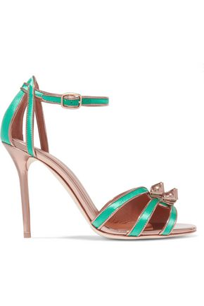 MALONE SOULIERS Embellished metallic leather and satin sandals