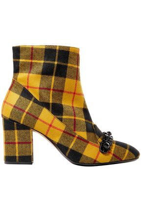 N° 21 Crystal-embellished checked flannel ankle boots