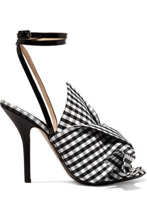 N° 21 Leather-trimmed knotted gingham canvas sandals