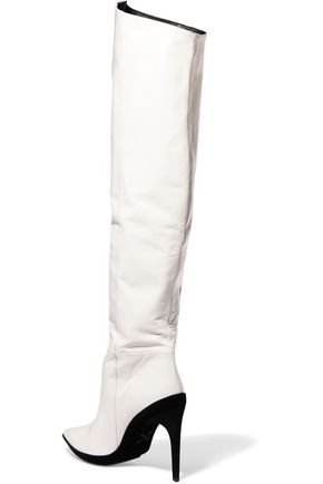 OFF-WHITE™ Printed leather knee boots