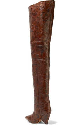 ISABEL MARANT Embossed leather over-the-knee boots