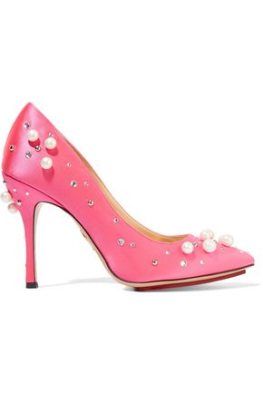 CHARLOTTE OLYMPIA Embellished satin pumps