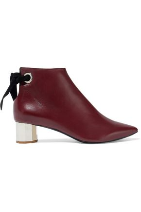 PROENZA SCHOULER Knotted suede-trimmed leather ankle boots