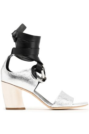 PROENZA SCHOULER Eyelet-embellished leather and suede sandals