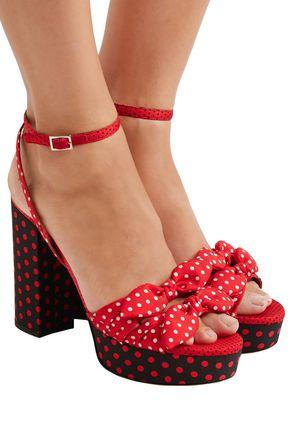 TABITHA SIMMONS Jodie bow-embellished polka-dot twill platform sandals