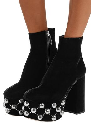 MIU MIU Studded velvet platform ankle boots