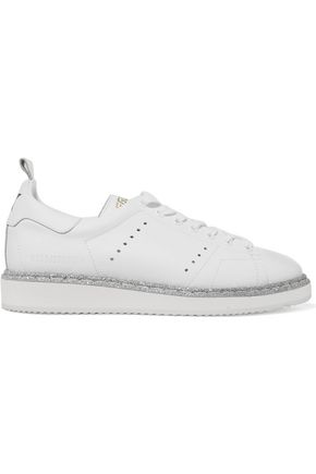 GOLDEN GOOSE DELUXE BRAND Starter glitter-trimmed perforated leather sneakers
