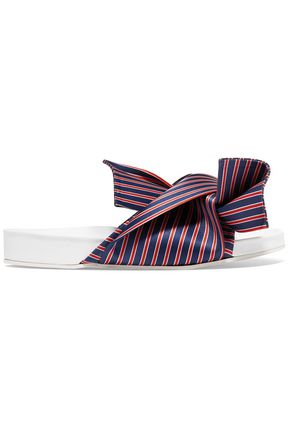 N°21 Knotted striped satin-twill slides