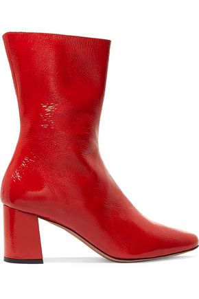 TRADEMARK Mira crinkled patent-leather ankle boots