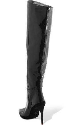 OFF-WHITE™ Printed patent-leather knee boots