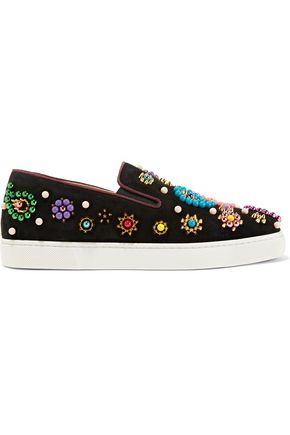 CHRISTIAN LOUBOUTIN Boat Candy embellished suede slip-on sneakers