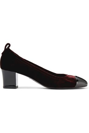 LANVIN Smooth and patent leather-trimmed velvet pumps