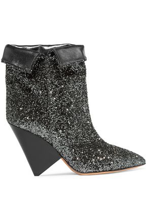 ISABEL MARANT Glittered leather ankle boots