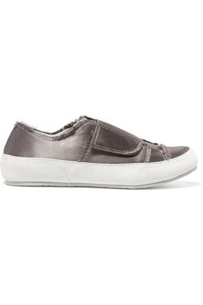 PEDRO GARCÍA Palmira suede-trimmed frayed satin sneakers