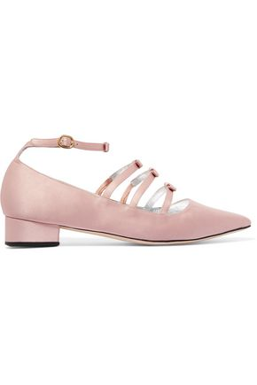 ALEXACHUNG Bow-embellished satin point-toe flats