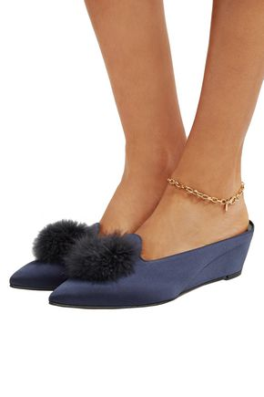 TRADEMARK Castaigne feather-embellished satin slippers