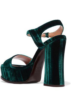 LAURENCE DACADE Perla crushed-velvet platform sandals