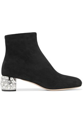 MIU MIU Crystal-embellished suede ankle boots