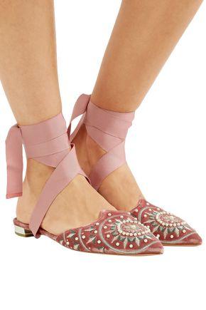 AQUAZZURA Stellar embellished velvet slippers