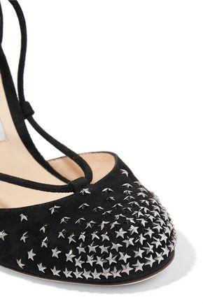 JIMMY CHOO Kamron 100 lace-up embellished suede pumps