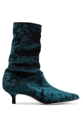 Harper Crushed-Velvet Sock Boots, Petrol