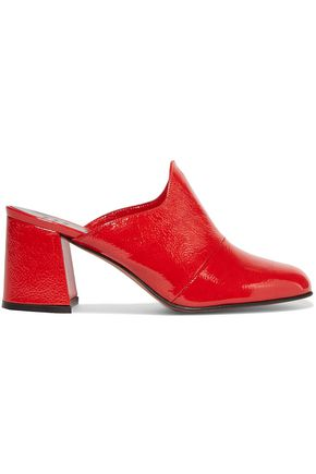 TRADEMARK Frances crinkled patent-leather mules