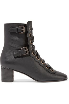 CHLOÉ Orson lace-up textured-leather ankle boots