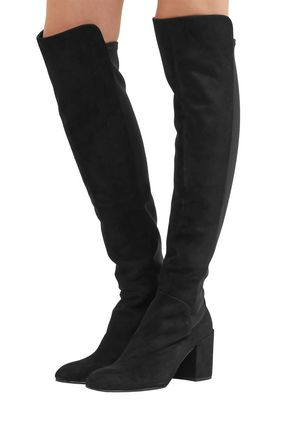 STUART WEITZMAN Suede and stretch-crepe over-the-knee boots