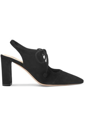 THE ROW Bow-detailed suede slingback pumps