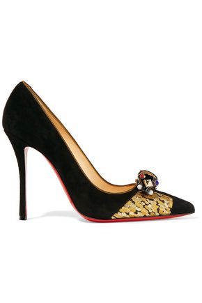 CHRISTIAN LOUBOUTIN Tudor Net 100 brocade-trimmed embellished suede pumps