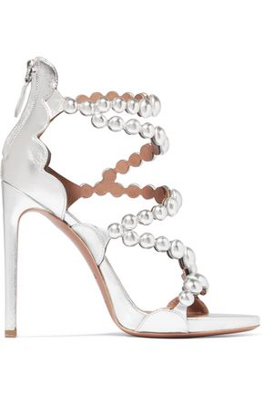 ALAÏA Studded laser-cut metallic leather sandals