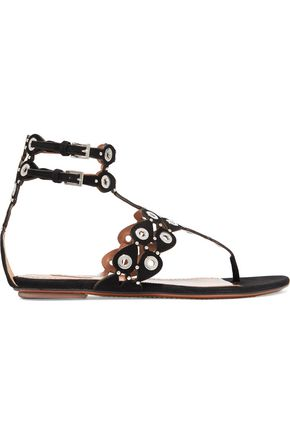 ALAÏA Embellished laser-cut suede sandals