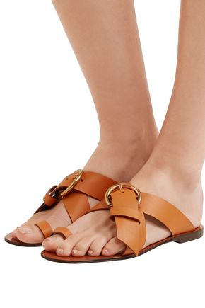 CHLOÉ Nils buckled textured-leather sandals