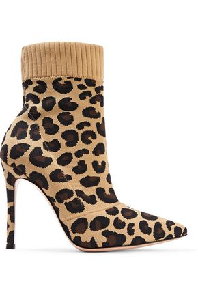 GIANVITO ROSSI Sauvage 100 leopard-print stretch-knit sock boots