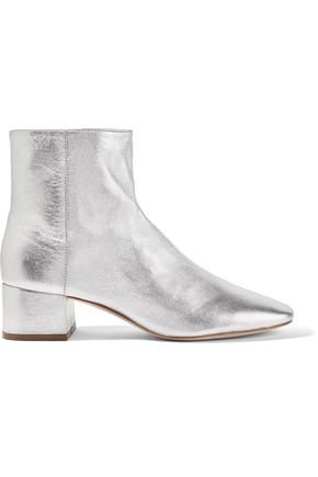 LOEFFLER RANDALL Carter metallic textured-leather ankle boots