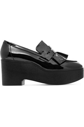 ROBERT CLERGERIE Verni ruffled patent-leather platform loafers