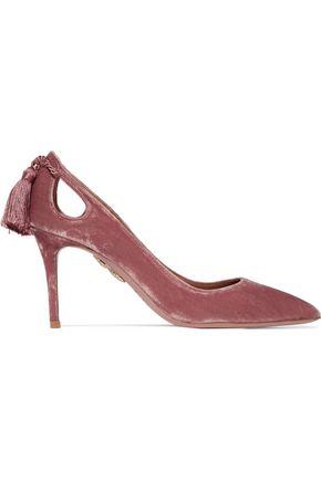AQUAZZURA Forever Marilyn tasseled velvet pumps