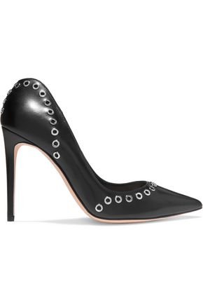 ALEXANDER MCQUEEN Eyelet-embellished leather pumps