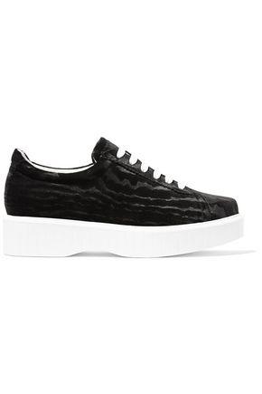 ROBERT CLERGERIE Paskettn devoré-velvet platform sneakers