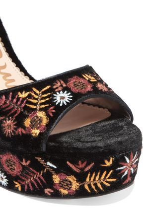 SAM EDELMAN Embroidered velvet platform sandals
