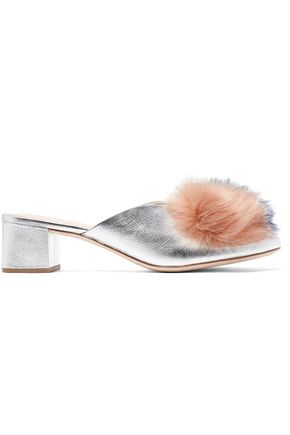 LOEFFLER RANDALL Faux fur-trimmed metallic leather mules