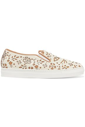 CHARLOTTE OLYMPIA Cool Cats laser-cut leather slip-on sneakers