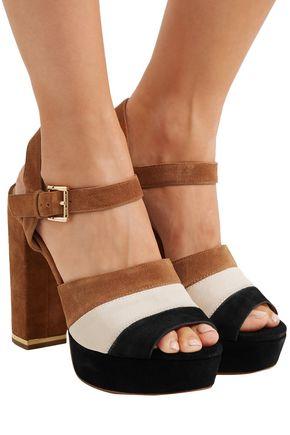 7a59a324e9a ... MICHAEL MICHAEL KORS Color-block suede platform sandals ...