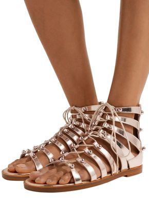 JIMMY CHOO Gigi studded metallic leather sandals