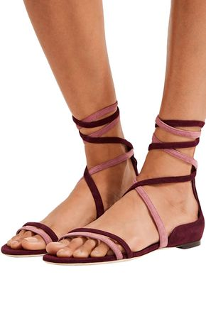 JIMMY CHOO Flynn lace-up two-tone suede sandals
