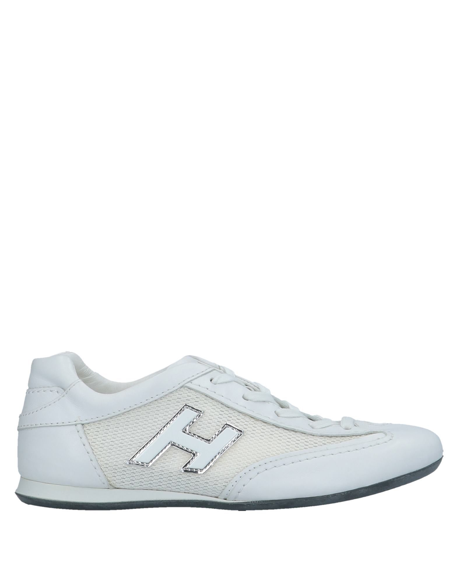 HOGAN Sneakers. techno fabric, logo, solid color, laces, round toeline, flat, leather lining, rubber cleated sole, contains non-textile parts of animal origin. Soft Leather, Textile fibers
