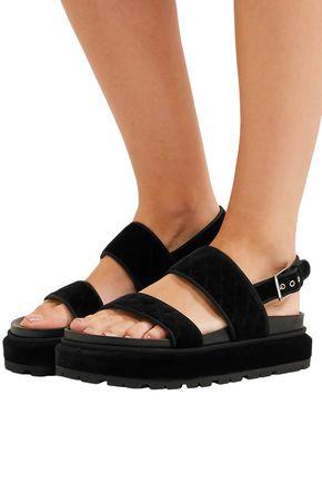 ALEXANDER MCQUEEN Quilted velvet platform sandals