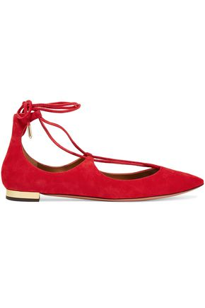AQUAZZURA Christy lace-up suede point-toe flats