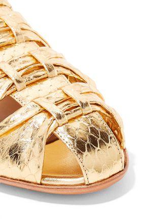 THE ROW Capri metallic elaphe slippers